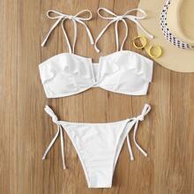 Bikini mit V Ausschnitt, Raffung, Buegel und seitlichem Band