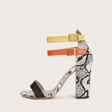 Snakeskin Ankle Strap Chunky Heel Sandals