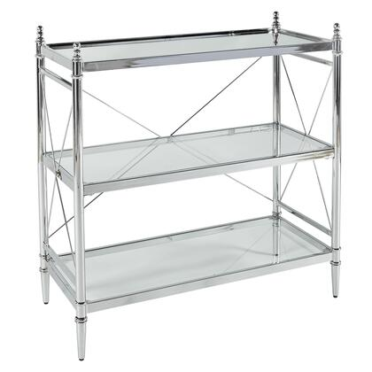 BM144228 Transitional Style Metal Console with Three Shelves  Silver and