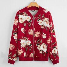 Plus O-ring Zip Up Floral Print Bomber Jacket