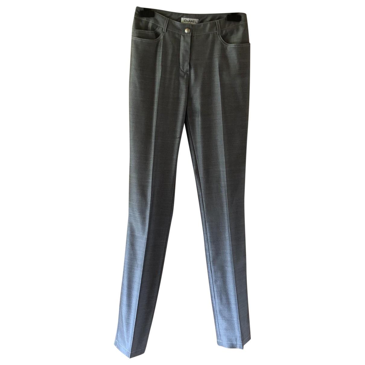 Chanel N Silver Silk Trousers for Women 34 FR