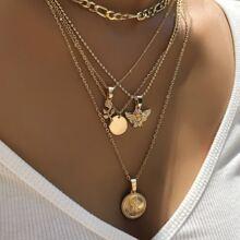 Mehrschichtige Halskette mit Engel Dekor