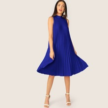 Tie Back Pleated Solid Dress