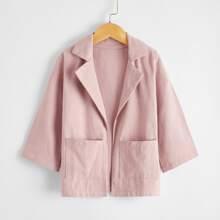 Toddler Girls Lapel Collar Dual Pocket Open Front Coat