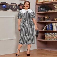 Kleid mit Guipure Spitzenbesatz, Schlitz am Saum und Hahnentritt Muster