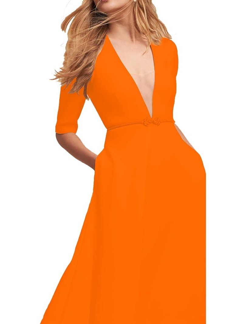Ericdress Expansion Pocket Half Sleeve V-Neck Summer Plain Dress