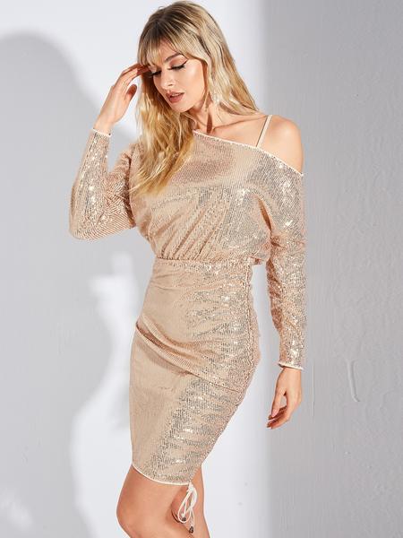 YOINS Beige Sequins Lace-up Design Cold Shoulder Long Sleeves Dress