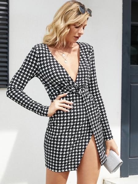 YOINS Slit Design Houndstooth Deep V Neck Mini Dress