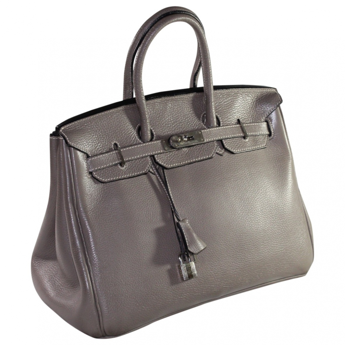 Hermes - Sac a main Birkin 40 pour femme en cuir - gris