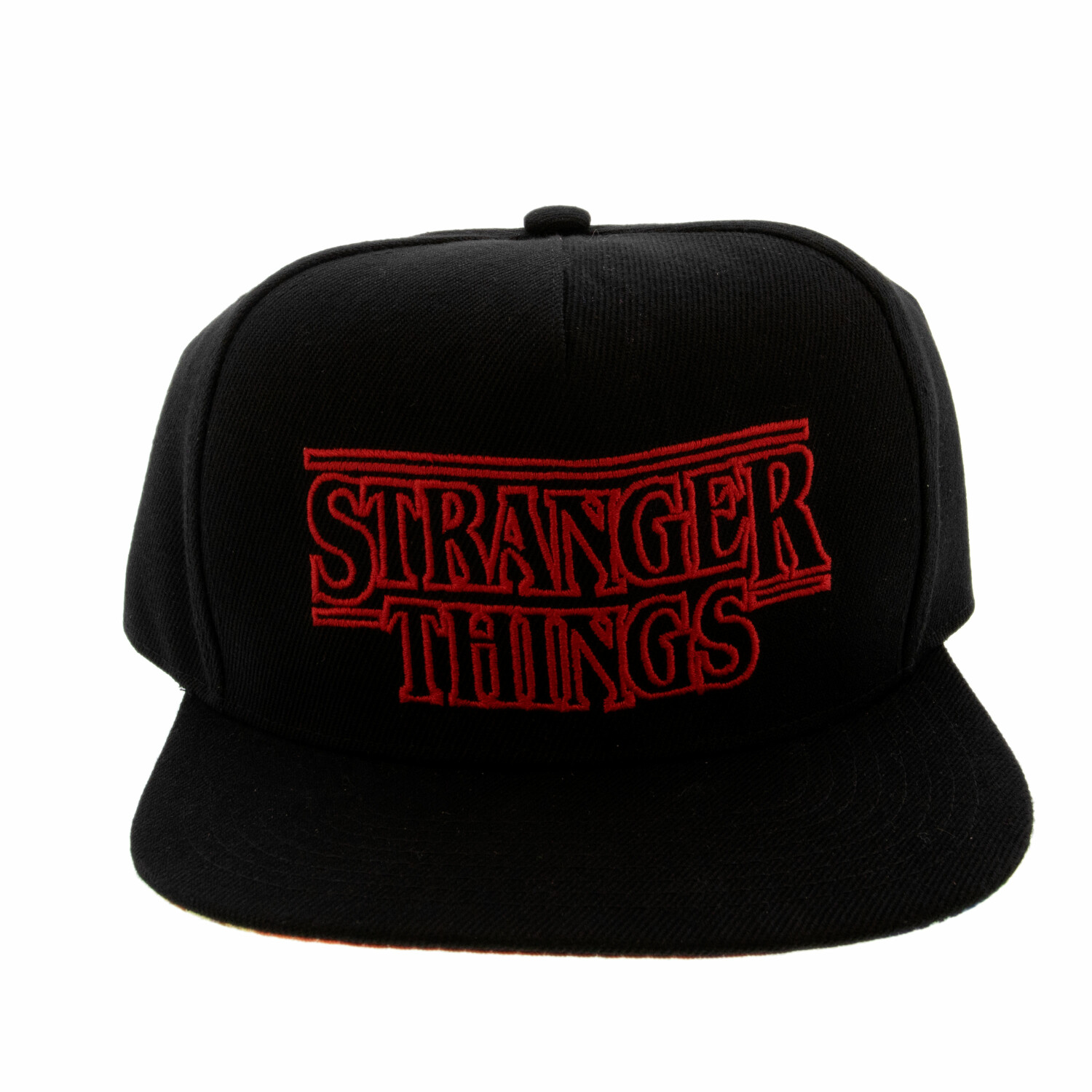 Stranger Things Flat Bill Logo Hat, Adjustable,Under Bill Design - One Size - Black / Red