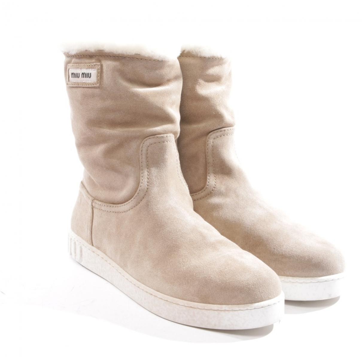 Miu Miu \N Beige Suede Ankle boots for Women 37.5 EU