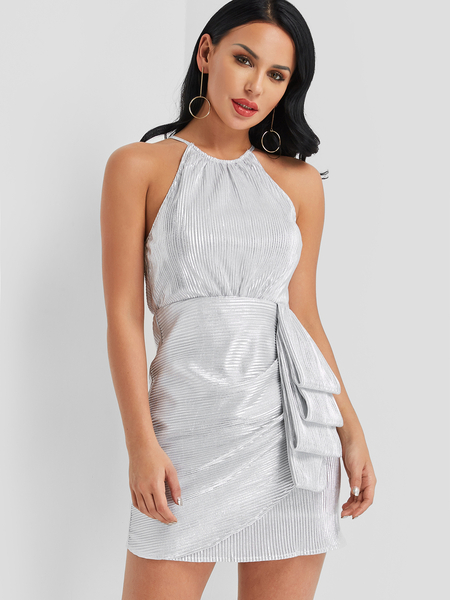 Yoins Silver Slit Back Halter Irregular Hem Dress