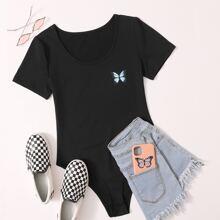 T-Shirt Body mit Schmetterling Muster
