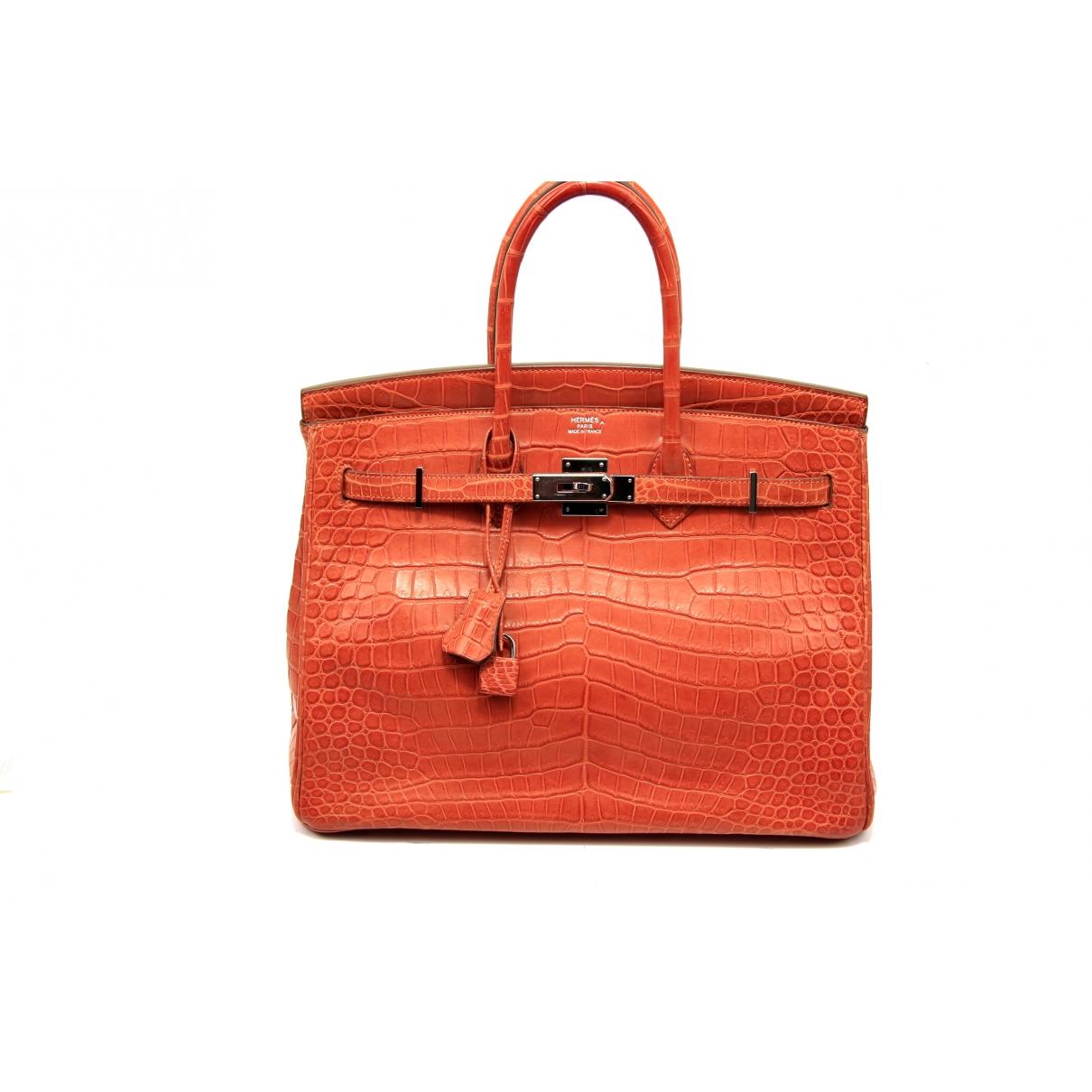 Hermès Birkin 35 Orange Crocodile handbag for Women \N