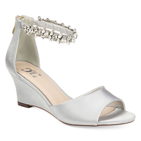 Journee Collection Womens Connor Pumps Zip Open Toe Wedge Heel, 10 Medium, Gray