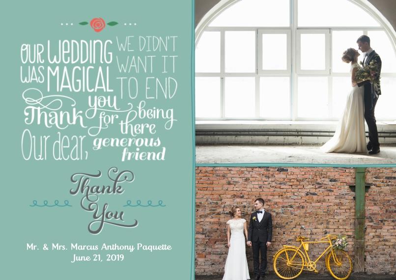 Wedding Thank You 5x7 Cards, Premium Cardstock 120lb, Card & Stationery -Fun Fonts Poem Wedding Thank You
