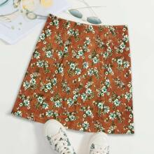 Corduroy Allover Floral Print Skirt