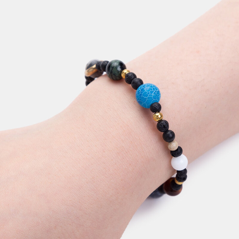 Galaxy Solar System Bracelet Natural Stone Planets Earth Moon Unisex Elastic Rope Beads Bracelets