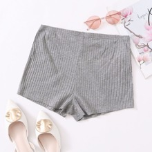 Solid Rib-knit Shorts