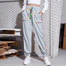 Rainbow Contrast Binding Sweatpants