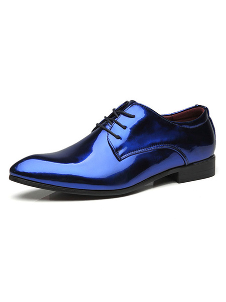 Milanoo Blue Dress Shoes Men Pointed Toe Faux Leather Lace Up Party Shoes