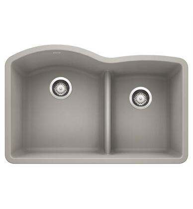 Diamond 442742 Silgranit Undermount Sink Bowl with Low Divide  in Concrete