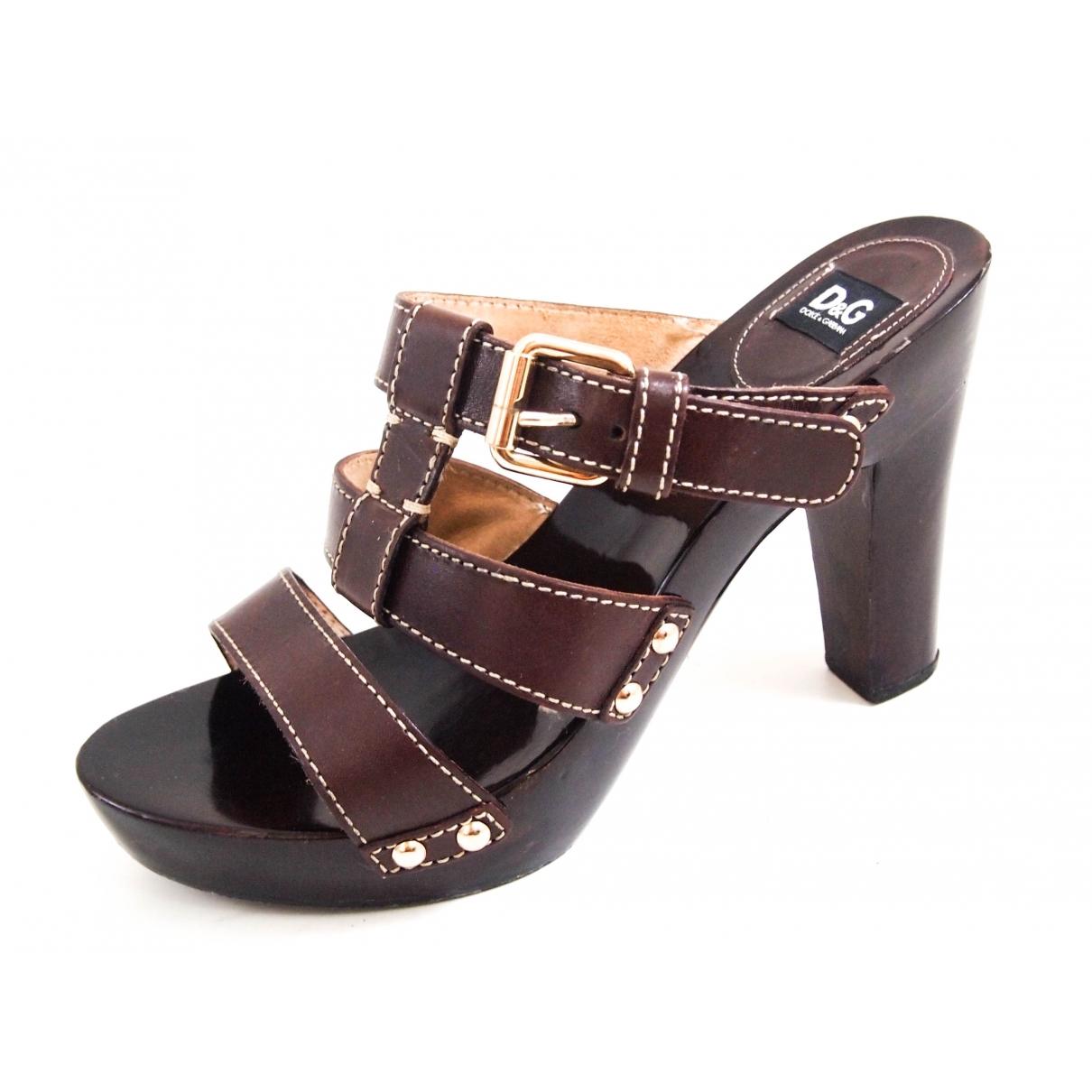 Dolce & Gabbana \N Brown Leather Sandals for Women 38.5 EU