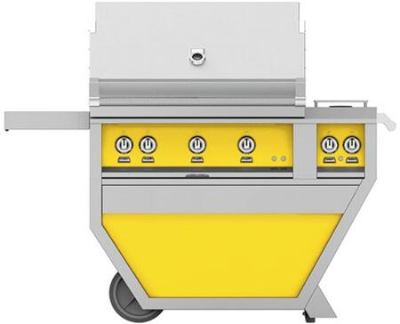GSBR36CX2-NG-YW 36 Deluxe Freestanding Natural Gas Grill with up to 119 000 BTUs  647 sq. inches Grilling Surface Size  Warming Rack  Double Side