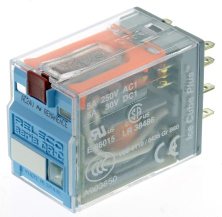 Releco DPDT Plug In Latching Relay - 5 A, 24V ac