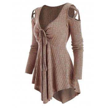 Cold Shoulder Front Drawstring Ribbed Asymmetrical Knitwear