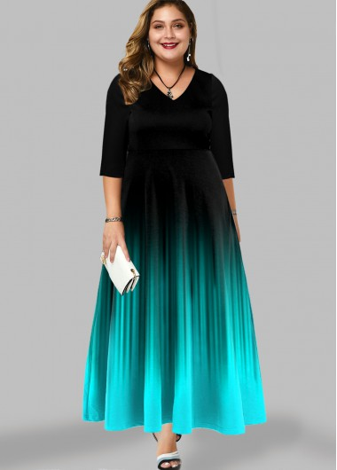 Printed Ombre Plus Size Maxi Dress - 3X