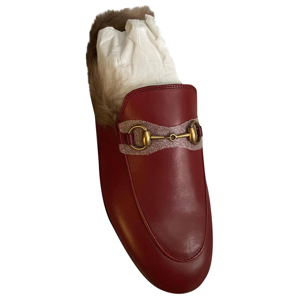 Gucci Princetown Burgundy Leather Flats for Women 36.5 EU