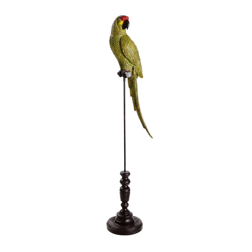 Gruener Papagei mit schwarzem Metallfuss