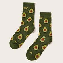 ROMWE FUNSTUFF 1pair Avocado Pattern Socks