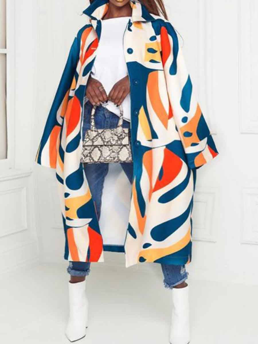 LW Lovely Casual Graffiti Print Multicolor Plus Size Trench Coat