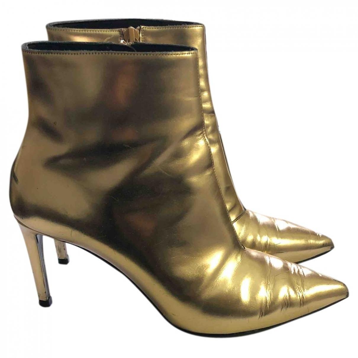 Balenciaga Slash Gold Leather Ankle boots for Women 38 EU