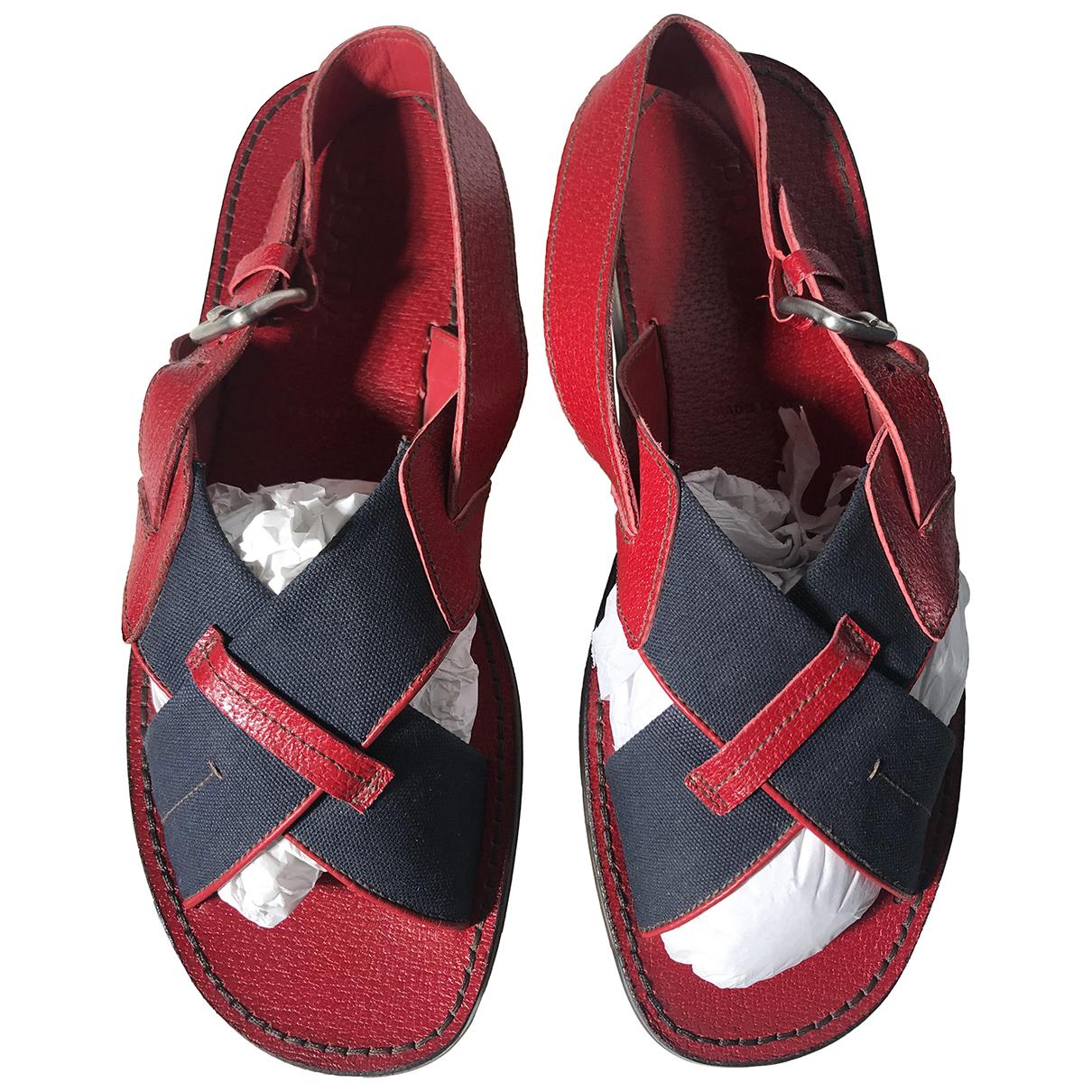 Prada N Red Leather Sandals for Men 43 EU