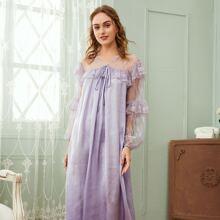 Tie Front Lace Yoke & Sleeve Ruffle Trim Nightdress