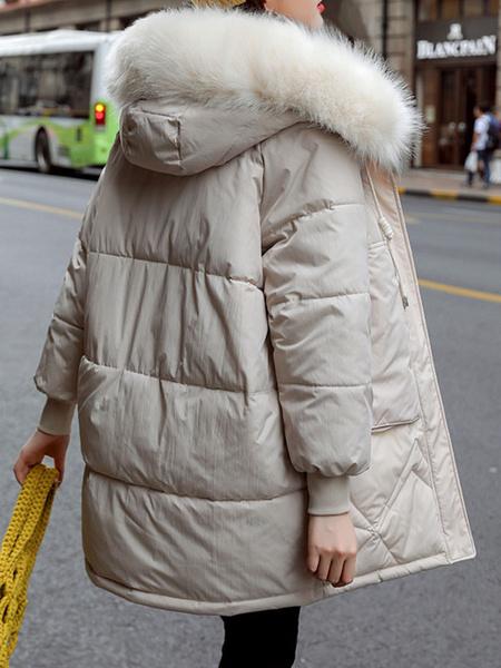 Milanoo Bolsillos mujeres Puffer abrigos de piel falsa con capucha de manga larga con cremallera abrigo de invierno
