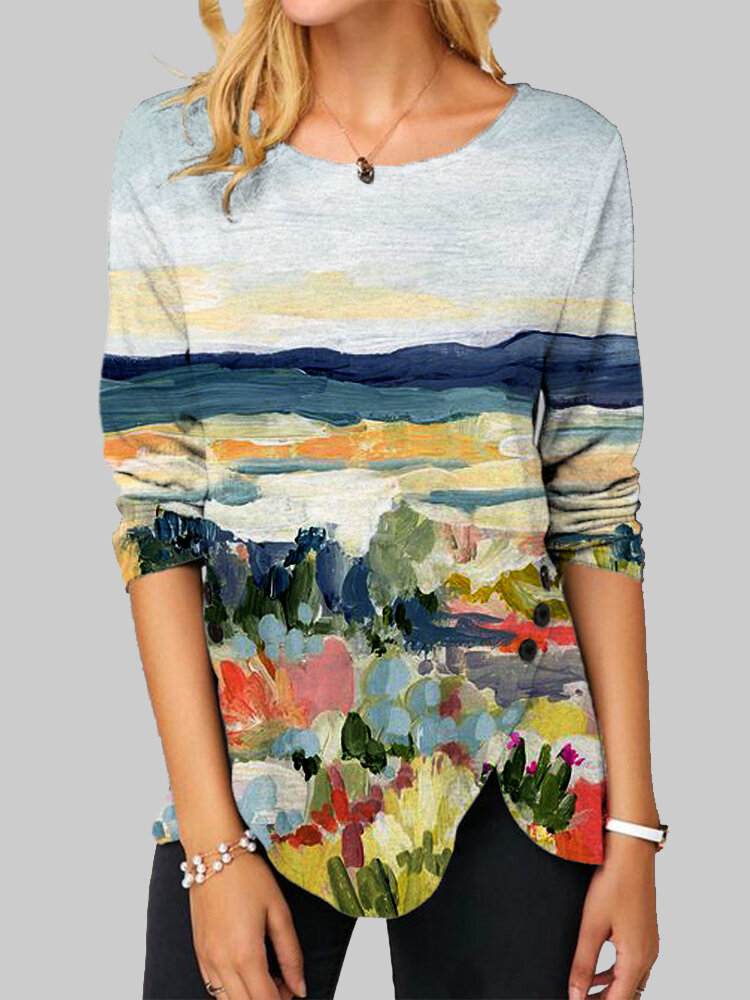 Landscape Print Side Button Long Sleeve Casual Blouse For Women