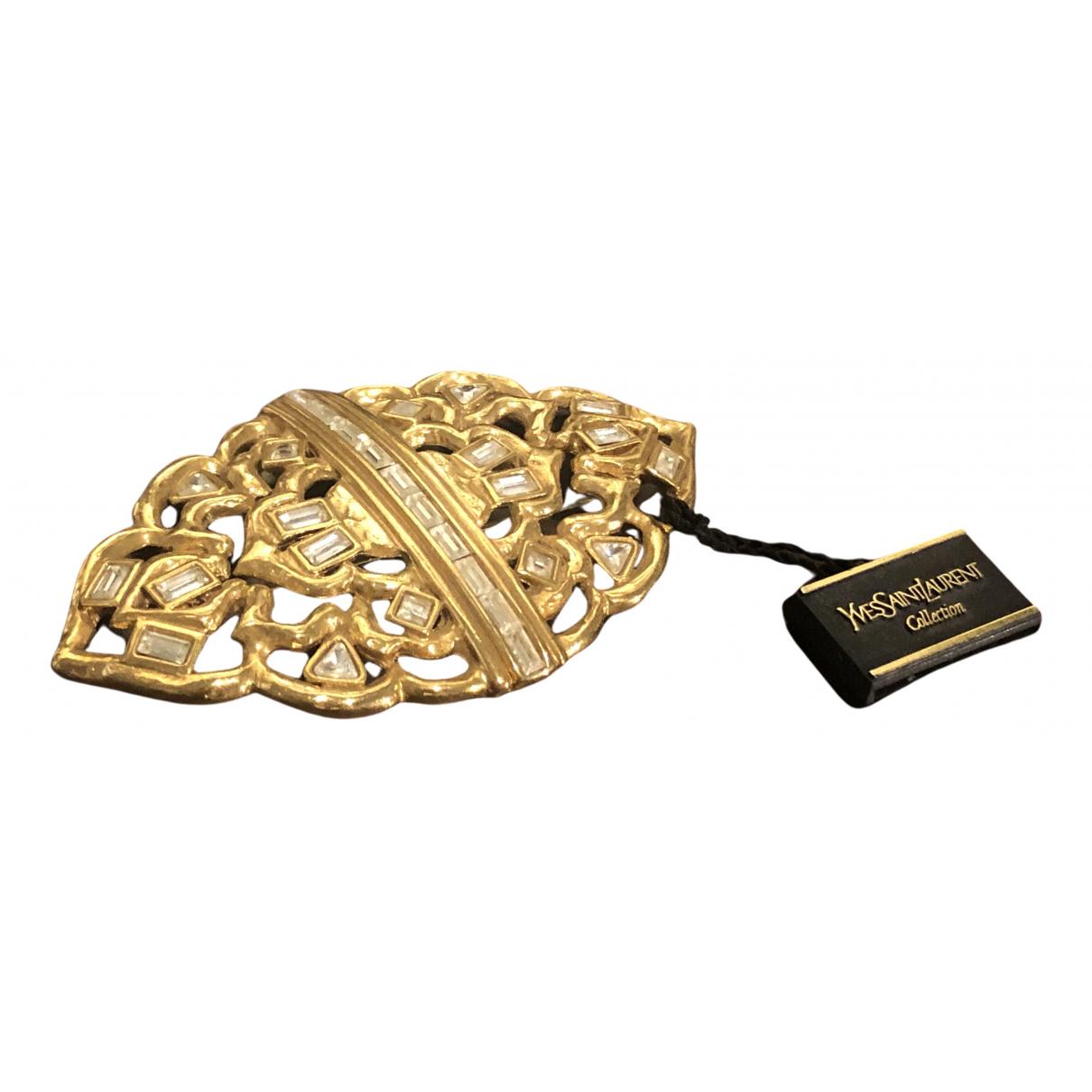 Yves Saint Laurent \N Brosche in  Gold Stahl
