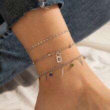 3pcs Lock Pendant Anklet