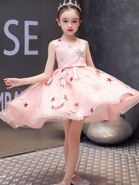 Milanoo Flower Girl Dresses Jewel Neck Tulle Sleeveless With Train Princess Silhouette Kids Party Dresses