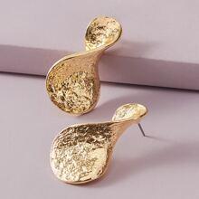 1pair Textured Twist Stud Earrings