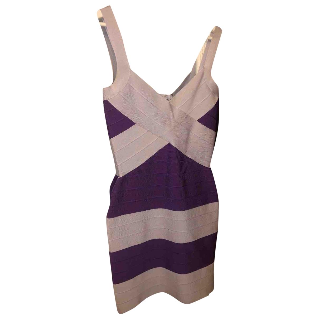 Herve Leger - Robe   pour femme en coton - elasthane - violet