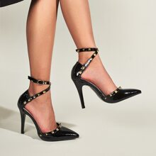 Studded Decor Ankle Strap Stiletto Pumps