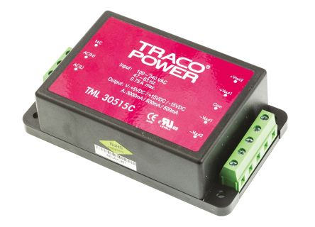TRACOPOWER , 30W Embedded Switch Mode Power Supply SMPS, 5 V dc, ±15 V dc, Encapsulated