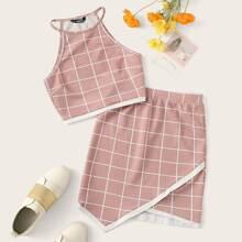 Grid Print Top & Handkerchief Hem Skirt Set
