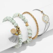 Armband mit Marmor Muster und Perlen 4pcs