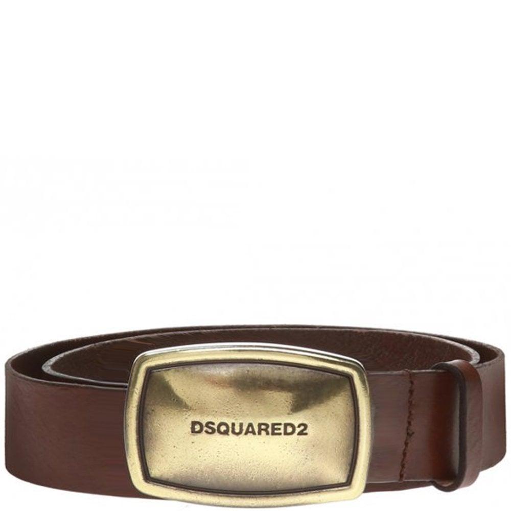 DSquared2 Gold Business Plaque Belt Colour: BROWN, Size: 34
